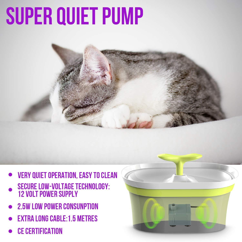 Bebedero Autom/ático Fuente con Dispensador 3 Modos Ajustables El/éctrico para Gato con Filtro de Carb/ón WOSTOO Fuente de Agua para Gato