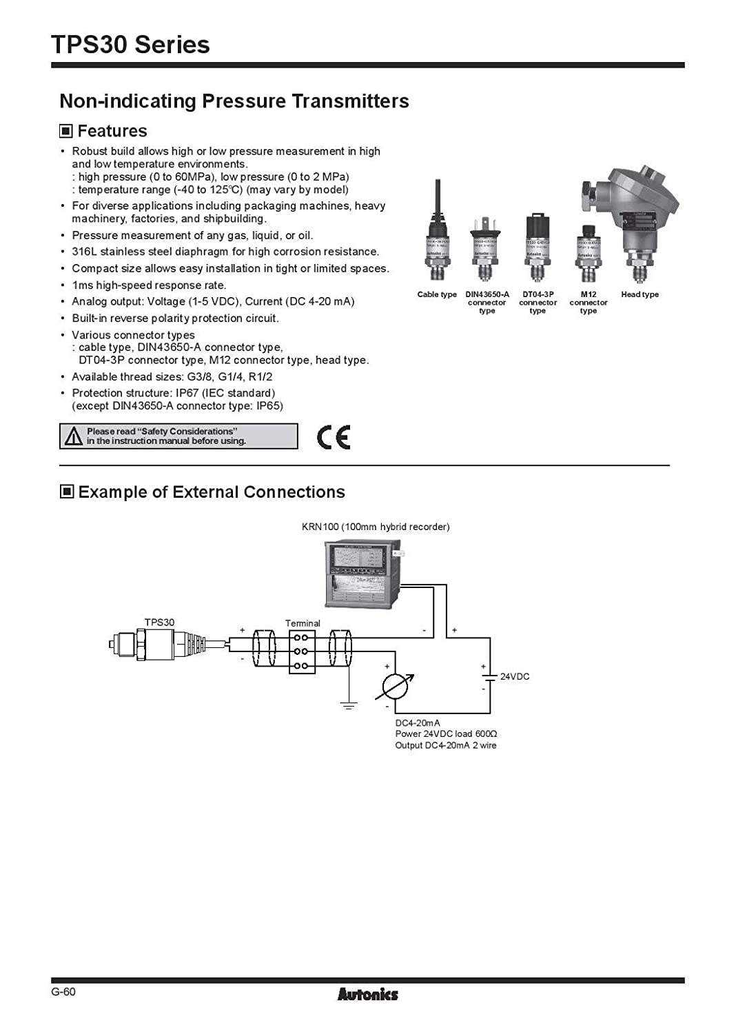 Gauge Pressure NPT1//4 DIN 43650-A Connector Type 0 to 0.7Mpa TPS30-G25AN4-00 Pressure Transmitter 4-20 mA Output