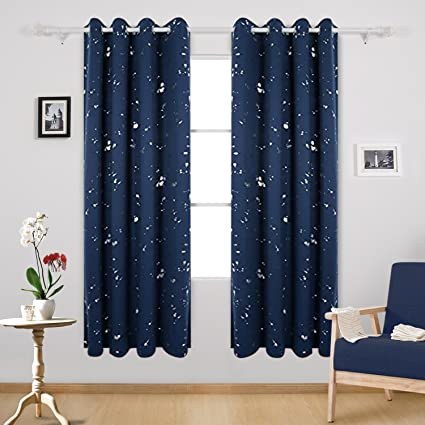 Deconovo Silver Dots Printed Navy Blue Blackout Grommet Curtains Bedroom  Curtains And Drapes For Boys Room