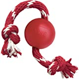 KONG - Ball with Rope - Durable Rubber, Fetch and Chew Toy - for Small Dogs