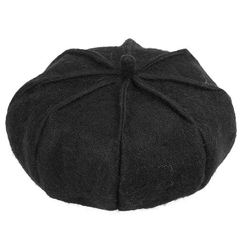 Boinas de calabaza - Boinas de calabaza de estilo británico de lana negra ManChDa para mujer