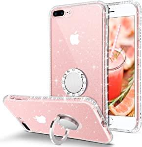 BENTOBEN iPhone 8 Plus Case, iPhone 7 Plus Phone Case, Slim Fit Thin Clear | 360° Ring Holder Kickstand Soft TPU Rubber Bumper Hybrid Shockproof Protective Girls Women iPhone 8+/7+ Cover,Clear Glitter