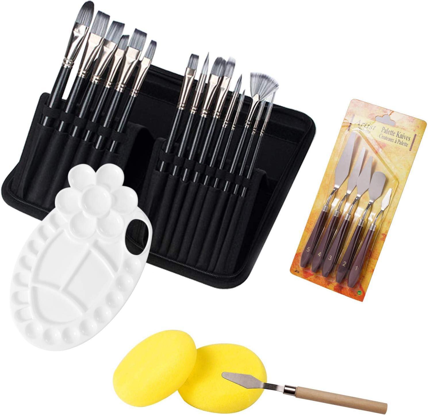 OKAYC 25pcs Acrylic Paint Brushes Set,6 Palette Knife and 2 Sponge 15 Sizes Brushes,with Holder Storage Box and Ergonomic Non-Sl