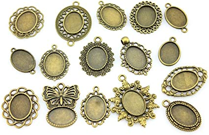 WYSIWYG 6 Pieces Cabochon Cameo Base Tray Bezel Blank Diy Accessories For Classic Perforation Single Side Side-On Inner Size 30mm Square flatback resin cabochons