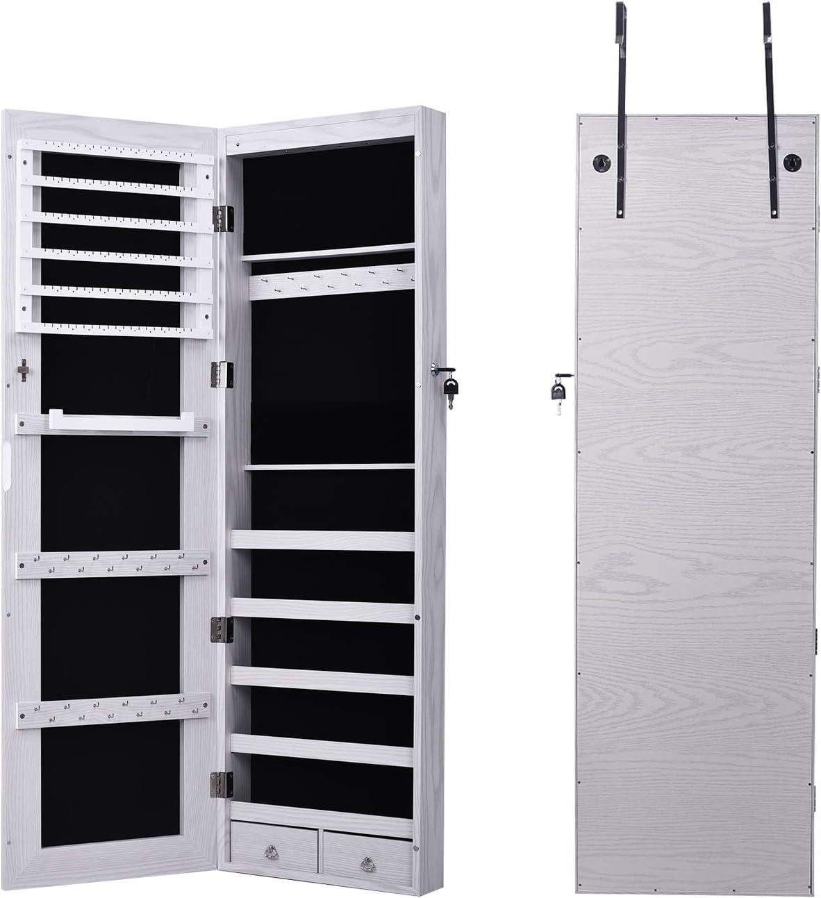 Armadietto Specchiera Organizer Sospeso Montato su Porta per Gioiell con 6 Luci a LED DlandHome Portagioie da Armadio con Specchio