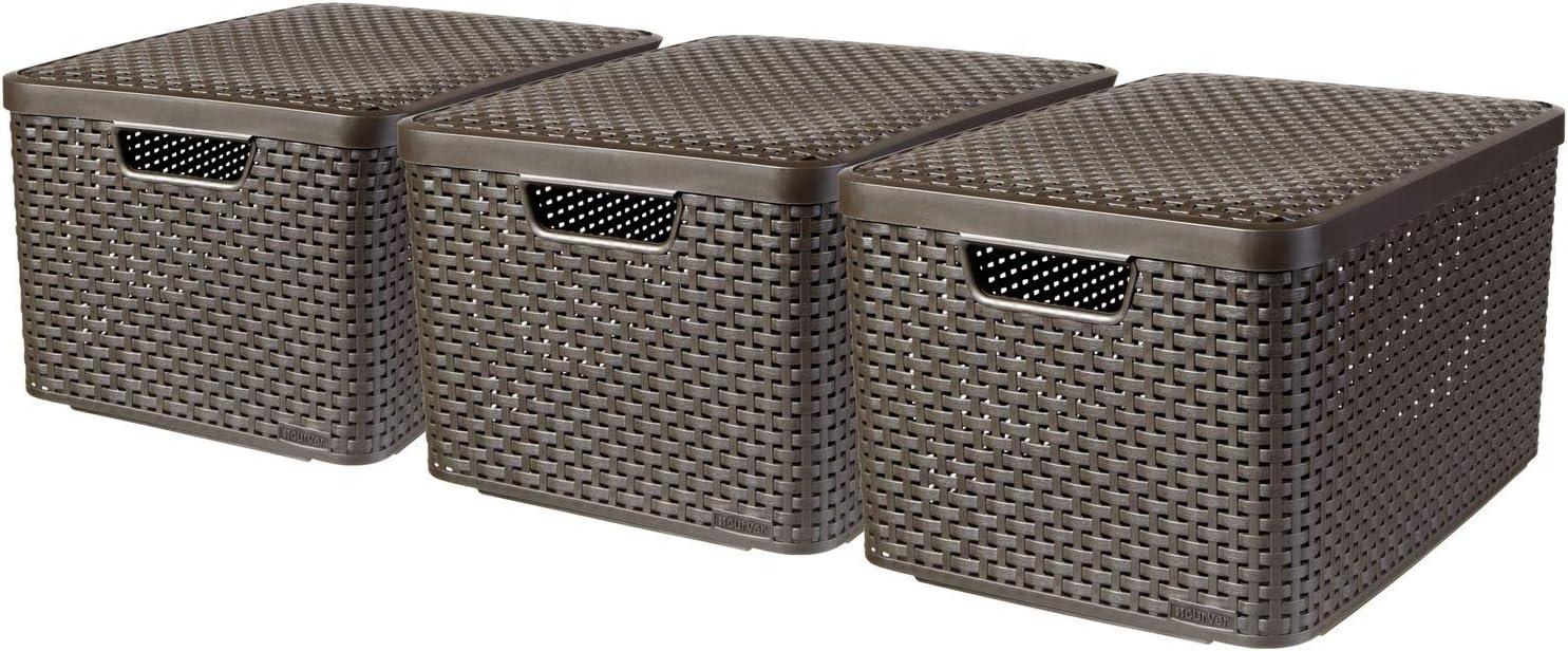 Curver 240651 - Set de 3 cestas Style con tapa, tamaño L, 30 litros, color marrón