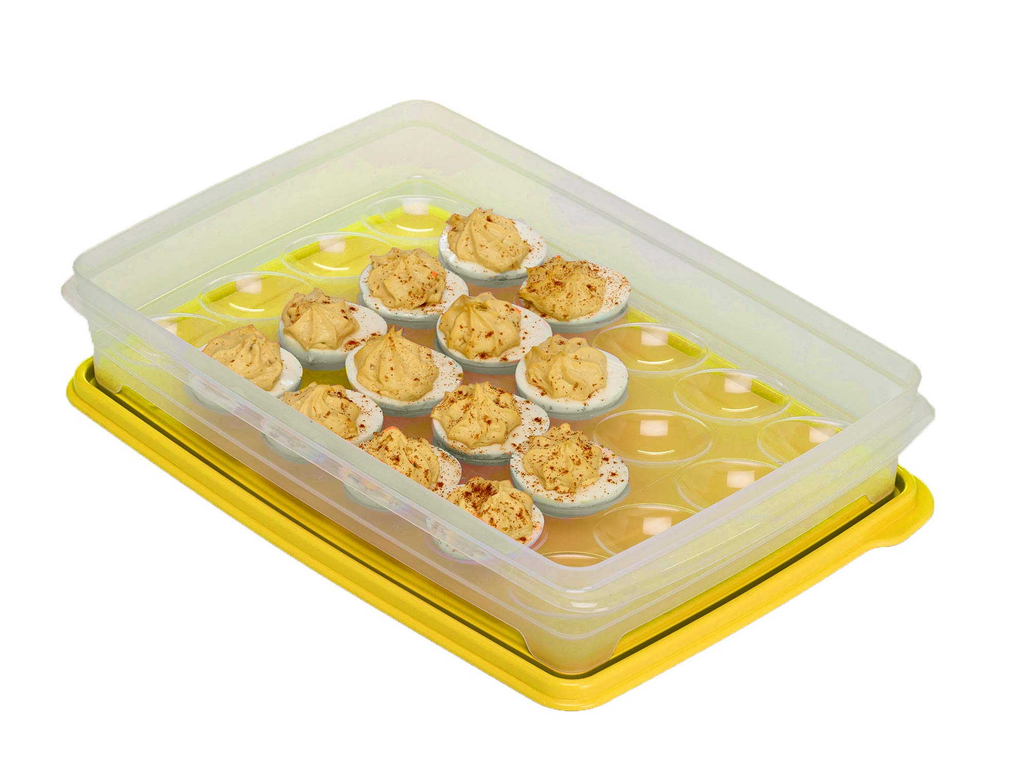 Egg Holder for Refrigerator, Deviled Egg Tray Carrier With Lid- Container for 24 Eggs