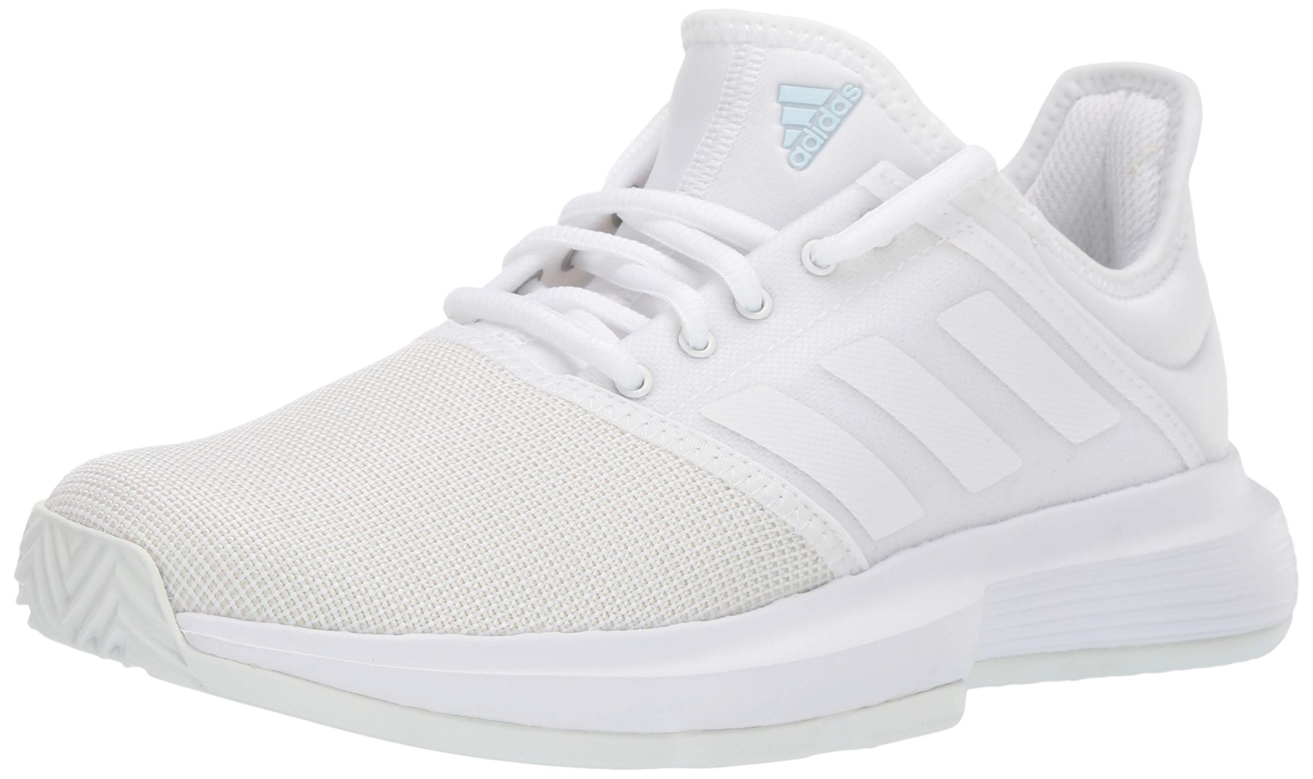 adidas Women's GameCourt Tennis Shoe, White/Blue Tint, 7 M US