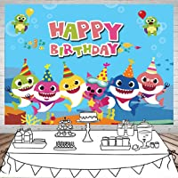 SJOLOON 7X5FT Photography Backdrops Undersea World Whale Baby Shark Starfish Seahorse Cartoon Backdrops for Pictures Happy Birthday Party Shower Banner Decoration Background Photo Booth Props 11471