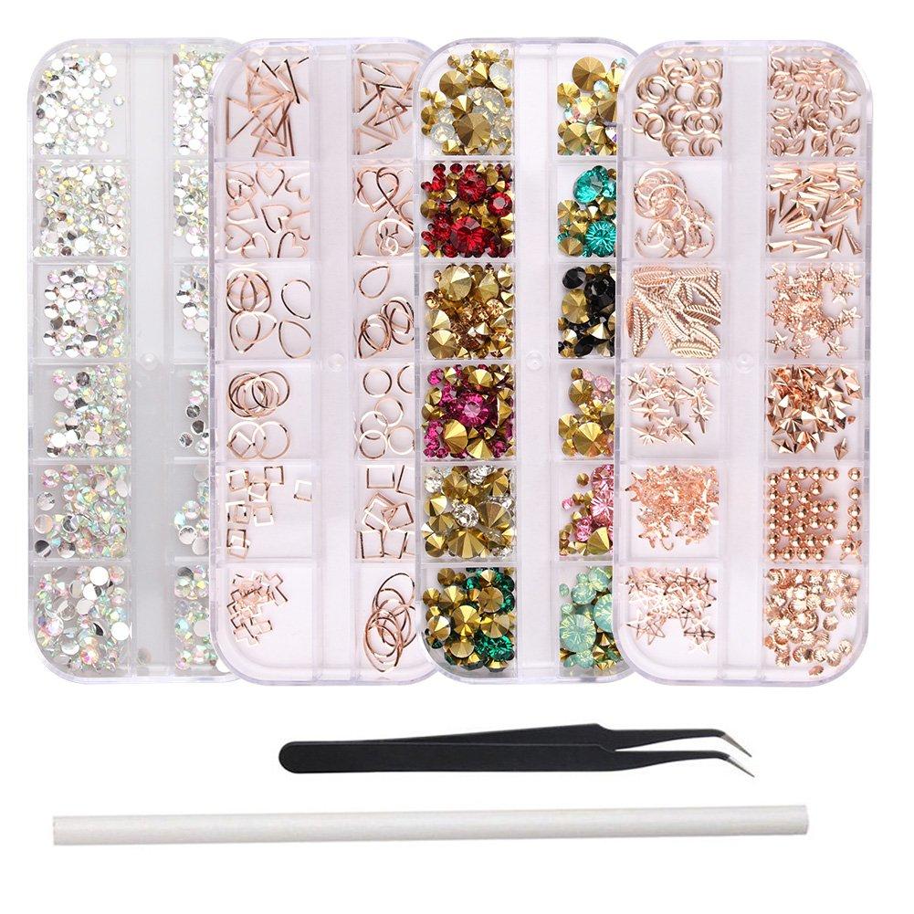 WOKOTO 4Pcs Nail Art Crystals And Rhinestones Rose Gold Metal Stud Nail Art Sharp And Flat Base Rhinestones Kit With Tweezers And Rhinestone Picker Pencil: Beauty