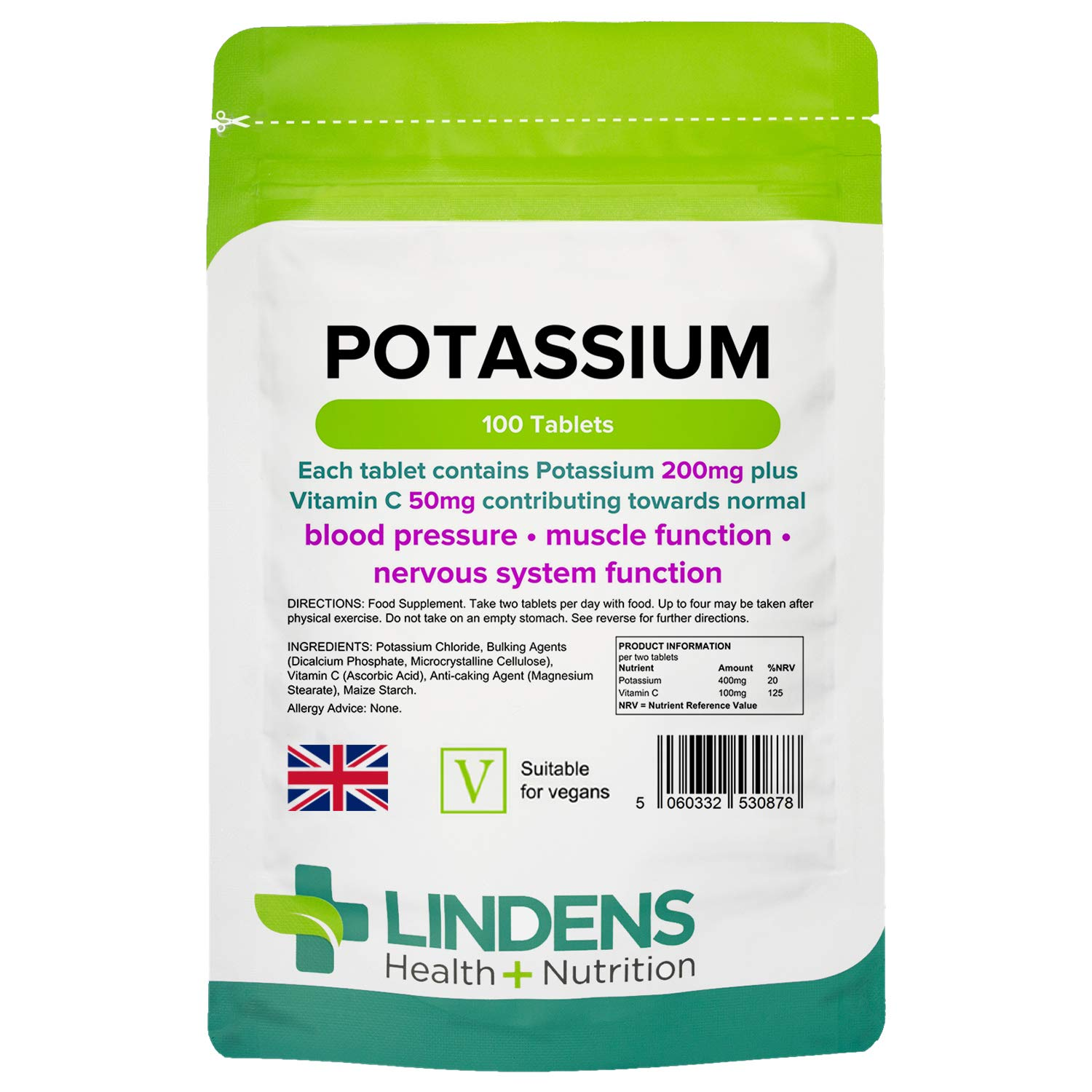 Lindens Potassium 200mg Tablets with 50mg Vitamin C - 100 Tablets - Contributes to Normal Blood Pressure, Muscle Function and Nervous System Function - UK Manufacturer, Letterbox Friendly