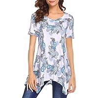 Halife Womens Short Sleeve Floral Print Irregular Hem Loose Fit Flared Tunic Tops Shirt