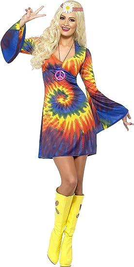 Smiffys-20741S Hippies Disfraz Tie Dye de los 60, con Vestido ...