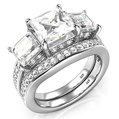 Sz 4 Sterling Silver 3 Carat Princess Cut Cubic Zirconia CZ Wedding  Engagement Ring Set