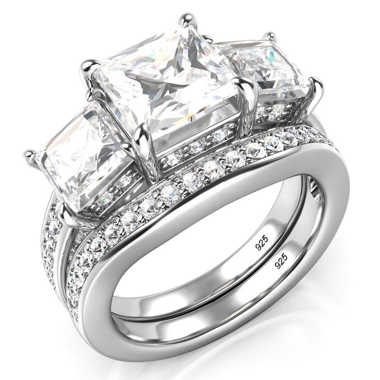 Sz 11 Sterling Silver 3 Carat Princess Cut Cubic Zirconia CZ Wedding Engagement Ring Set