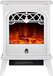 GMHome Free Standing Electric Fireplace Portable Electric Heater Log Fuel Effect Realistic Flames, 1500W - White