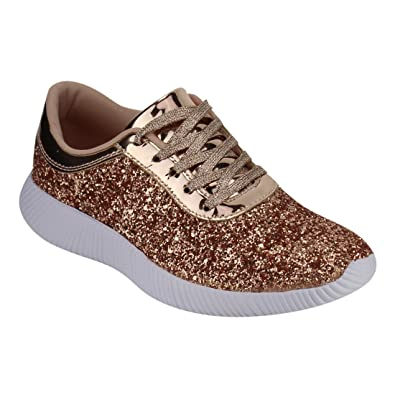 73ffe7fc2ff9 Nature Breeze EM29 Womens Metallic Sparkling Bling Glitter Bomb Fashion  Sneaker Color Rose Gold Size