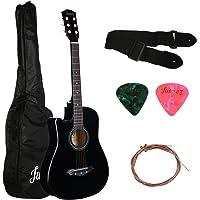 Juarez Acoustic Guitar [ LEFT HANDED] 38 Inch Cutaway JRZ38CL/BK with Bag Strings Pick and Strap, Black