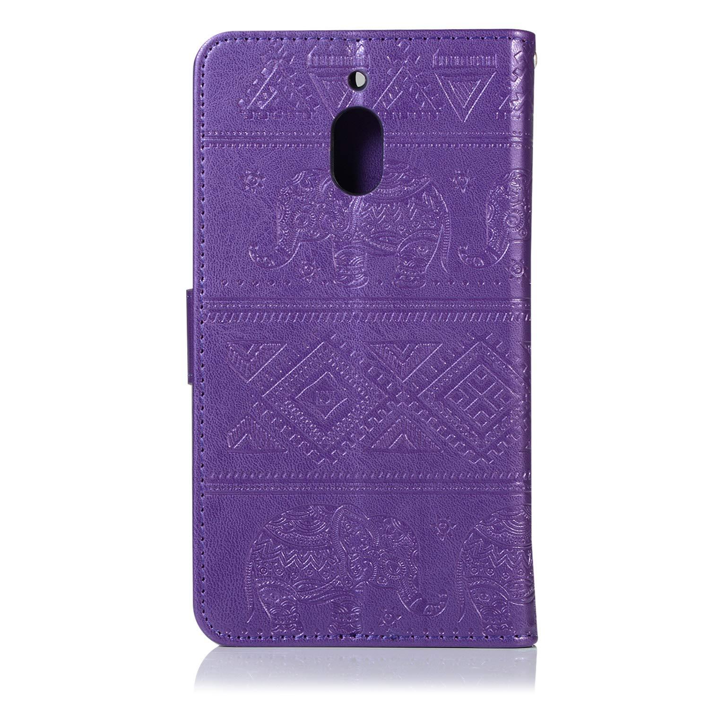 Nokia 2 2018 H/ülle Handyh/ülle PU Leder Tasche Schutzh/ülle Elefant Muster mit Kartenfach und Standfunktion Klapph/ülle Sto/ßfest Magnetisch Flip Cover Case,Blau Felfy Kompatibel mit Nokia 2.1