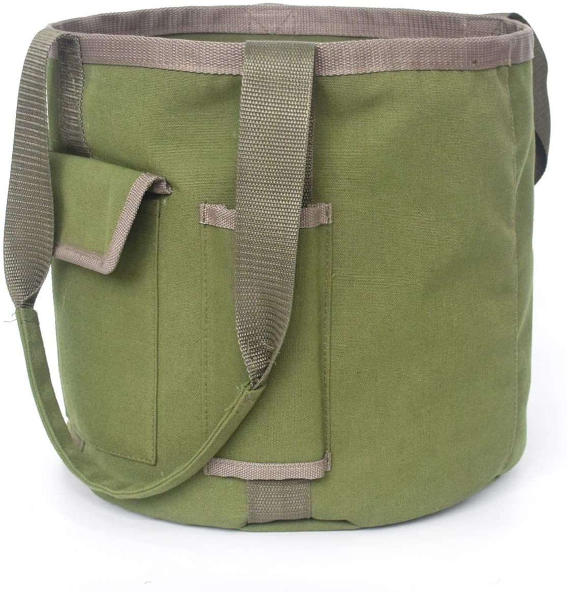 HANC Green Bucket Garden Tools Bag with 2 Pockets, Tote Garden Tools Bag in Water Proof Canvas, Storage Organizer for Men Or Women(Bag Only)