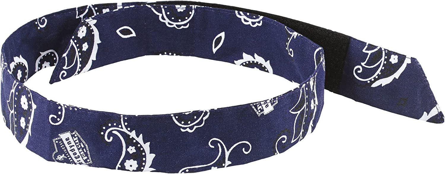 Cooling Bandana, Navy Western, Evaporative Polymer Crystals for Cooling Relief, Quick and Secure Fit, Ergodyne Chill Its 6705