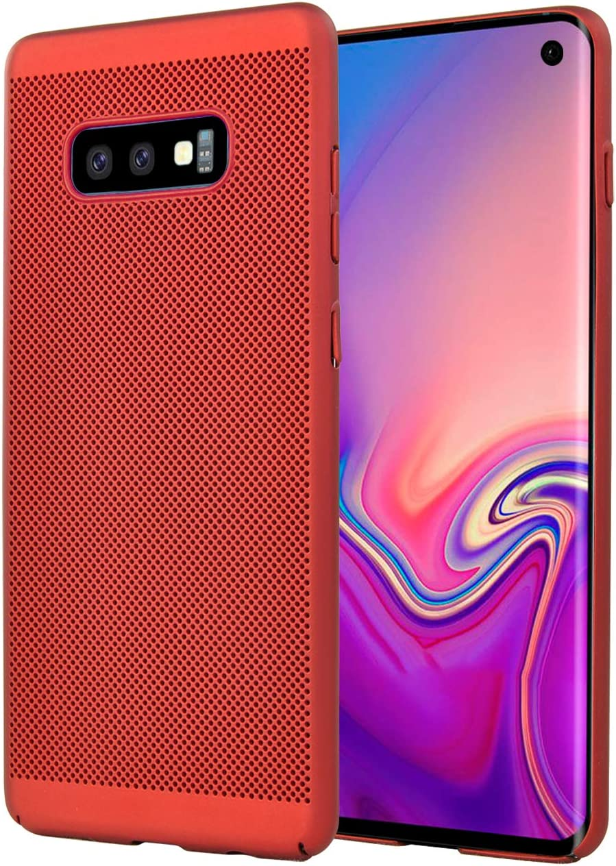 Olixar for Samsung Galaxy S10e Slim Case - Heat Dissipating Mesh Cover - MeshTex - Cooling Case - Wireless Charging Compatible - Red
