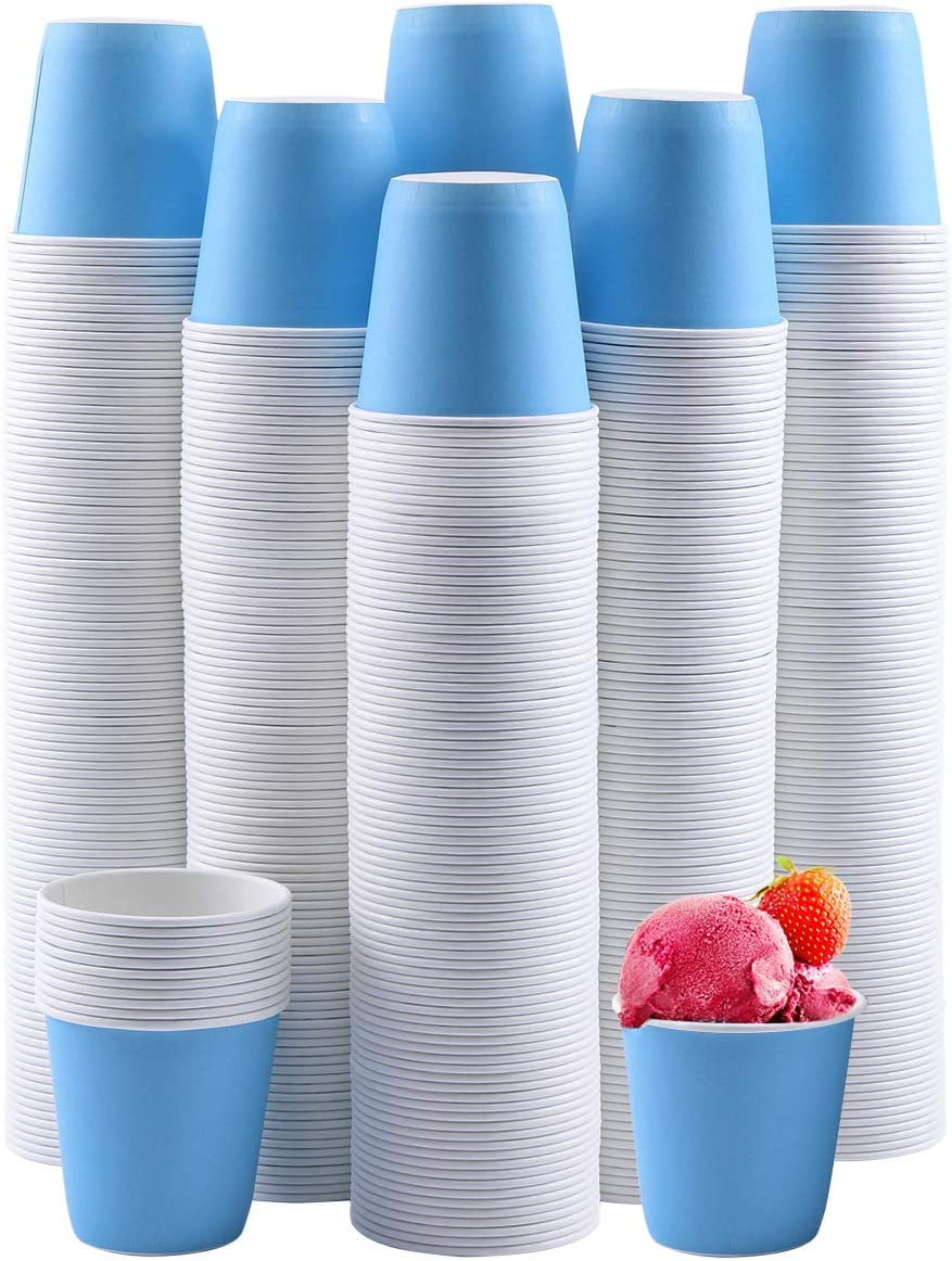 600Pack 3oz Disposable Paper Cups,Hot/Cold Beverage Drinking Cup,Small Blue Paper Cups for Bathroom and Mouthwash