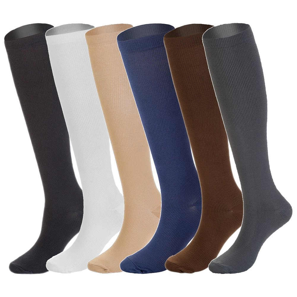 6 Pairs Knee High Graduated Compression Socks for Women and Men (15-20mmHg)