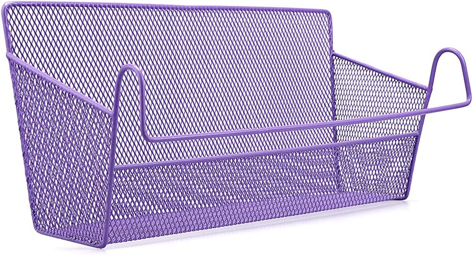 BTSKY Bedside Storage Basket, Dorm Room Bed Storage Basket Metal Mesh Desktop Corner Shelves Hanging Organizer Rack Shelf Bedside for Book Phones Drinks Tissues Office Home with Hook Purple