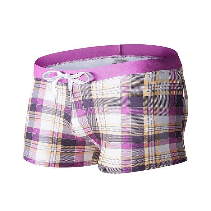 Hattfart Mens 3D Swim Trunks Quick Dry Summer Underwear Surf Beach Shorts Elastic Waist with Pocket