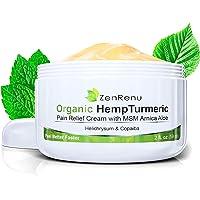 Organic Hemp Pain Relief Cream by ZenRenu | MSM Turmeric Arnica, | Relieve Muscle, Joint & Arthritis Pain | Effective Hemp Oil Extract Pain Cream | Fibromyalgia & Carpal Tunnel Relief