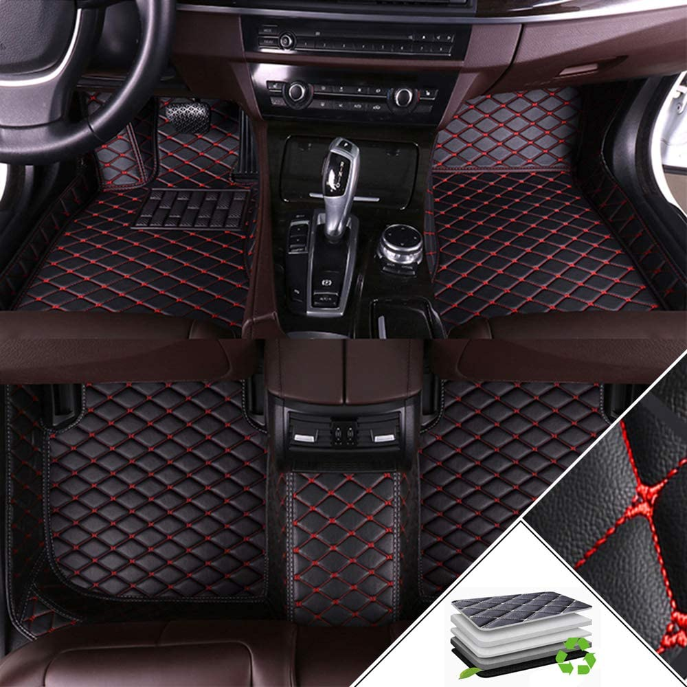 Custom Car Floor Mats for BMW 1 Series Hatchback 2-Door F20 F21 E81 E82 E87 E88 116i 118i 125i M135i M140i 2007-2011 Full Coverage All Weather Protection Front /& Rear Liner Set Black