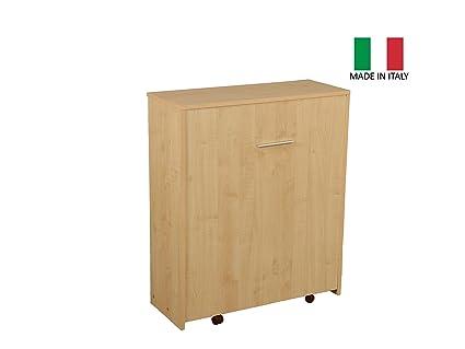 Letto Pieghevole A Scomparsa Con Mobiletto.Mobile Letto Estraibile A Scomparsa Con Rete E Materasso Struttura Colore Acero Made In Italy