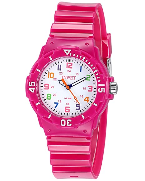 INWET Relojes Para Niña Chicas Reloj Deportivo Para Niñas Impermeable Relojes Infantil Blanco Rosa: Amazon.es: Relojes