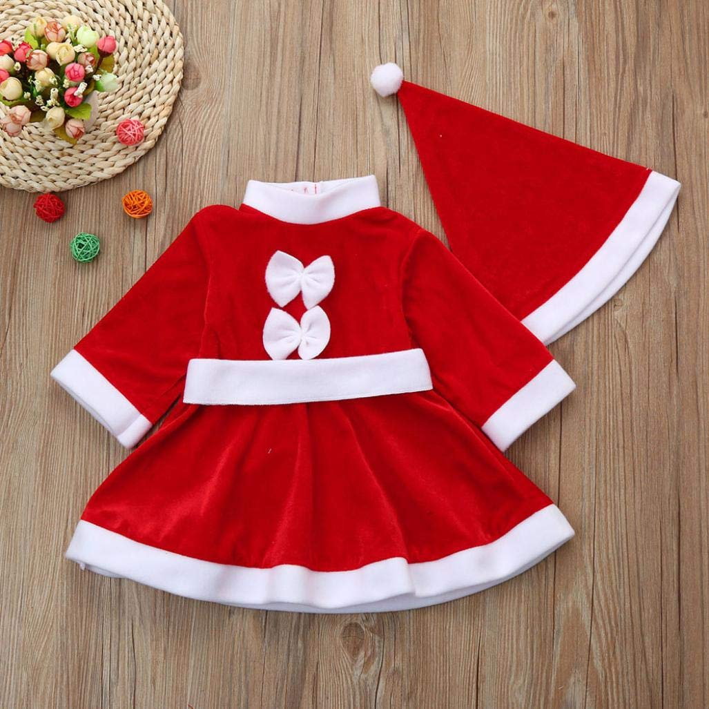 2Pcs Toddler Baby Girl Christmas Clothes Costume Bowknot Party Dresses+Hat Outfit