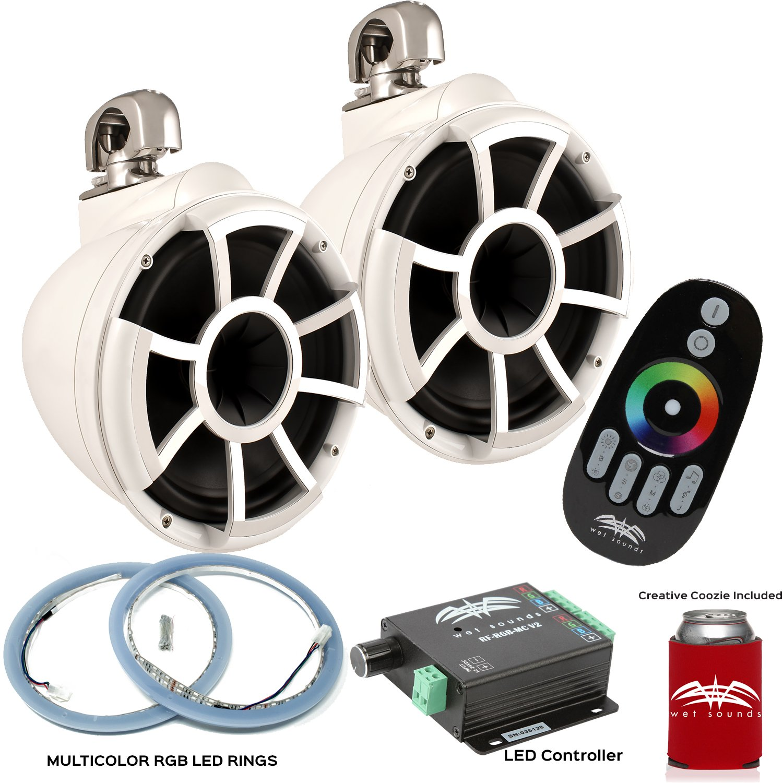 濡れSounds rev10 W-sc Swivelクランプタワースピーカーwith RGB LEDスピーカーリング& LEDコントローラ – ホワイト B07582BV6G
