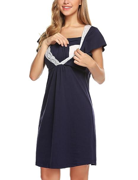 Lomon Vestido de Mujer para Maternidad Camisón de Noche para estancias en Hospital. Camisón de Noche para amamantar: Amazon.es: Ropa y accesorios