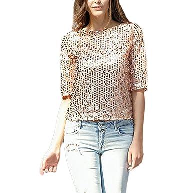 6296c1e68cb JLTPH T-Shirt Femmes Été 3 4 Manches Courtes Tunique Paillette Blingbling  Cocktail Soirée