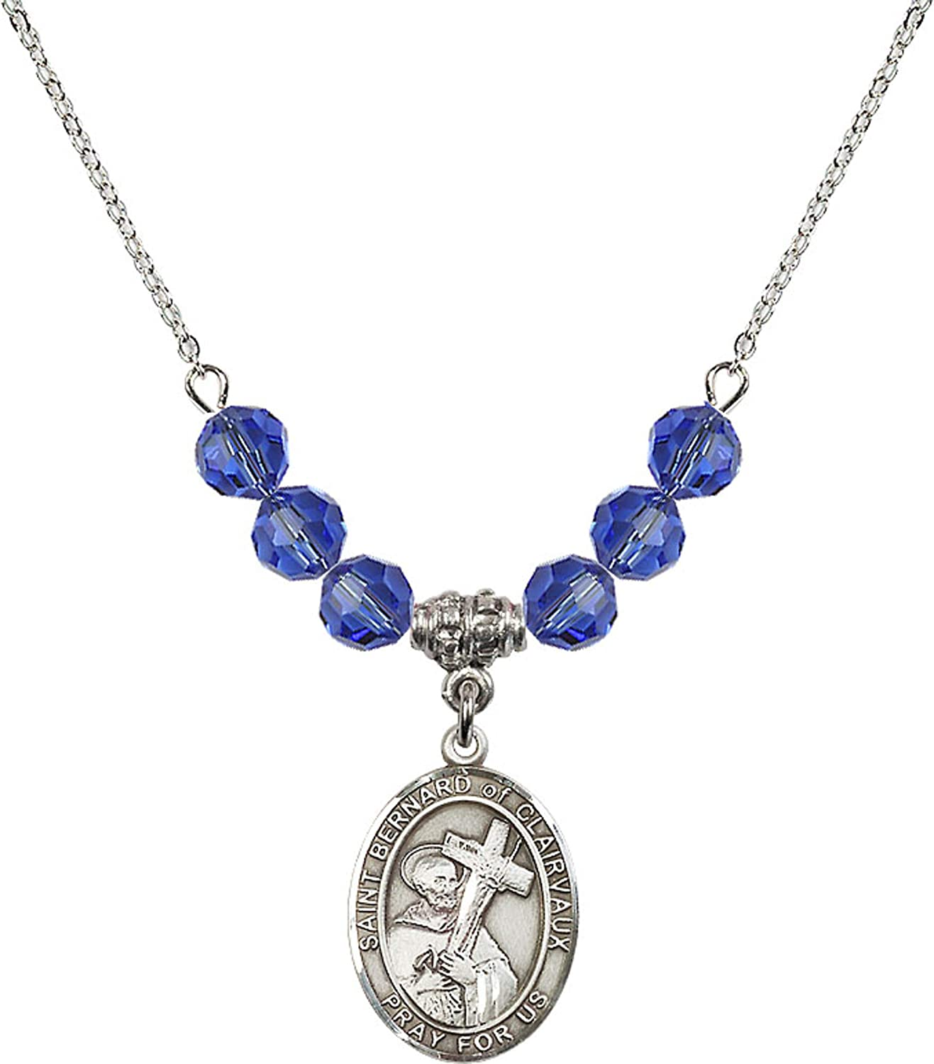Bonyak Jewelry 18 Inch Rhodium Plated Necklace w// 6mm Blue September Birth Month Stone Beads and Saint Bernard of Clairvaux Charm