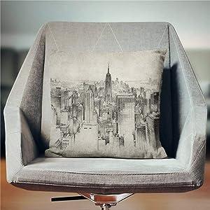 BYRON HOYLE Empire State Building Pillow New York Cotton Linen Pillowcase Throw Pillow Cover Cushion Cover Home Decor 18x18 Inch