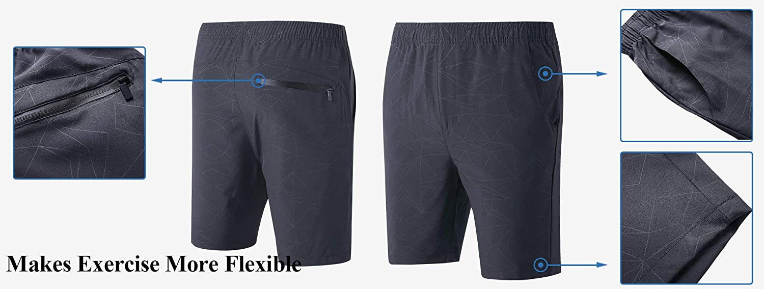 LTIFONE Mens Workout Shorts Spandex Gym Training Bodybuilding Exercise Quick Dry Shorts