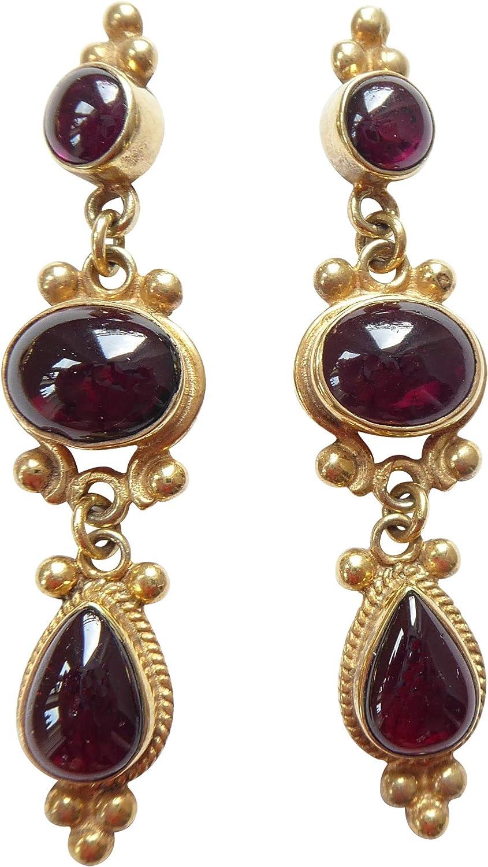 Grandes nostálgicos pendientes de granate ligeros de color rojo oscuro pendientes de plata dorados hechos a mano de lujo único italiano antiguo estilo retro elegante