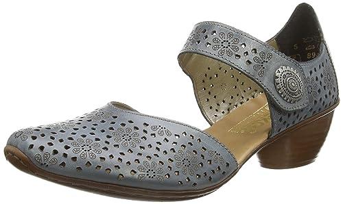 Rieker 4371112 Scarpe con Cinturino alla Caviglia Donna Blu Whitedenim