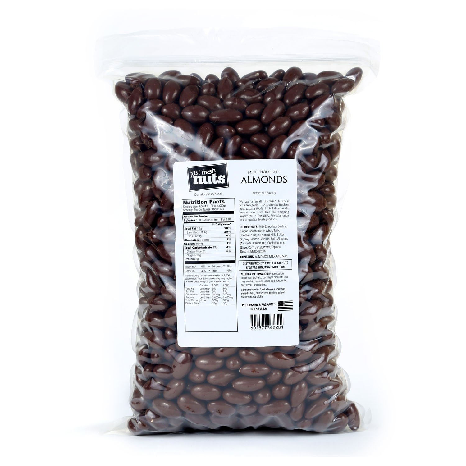 Bulk Milk Chocolate Almonds - 8 lb - Fast Fresh Nuts
