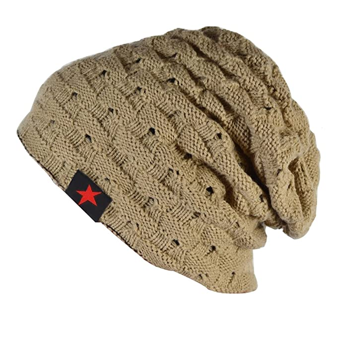 89337d5ab76 Thenice Men Reversible Slouchy Beanie Hat Unisex Skull Hat (Beige)  Amazon. co.uk  Clothing
