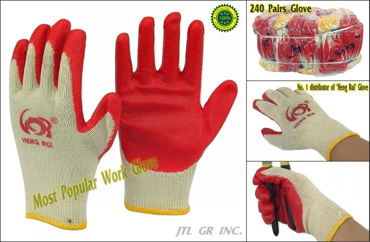240 pairs Wholesale Heng Rui Premium Red latex Palm coated cotton Grip glove by Heng Rui (Image #1)