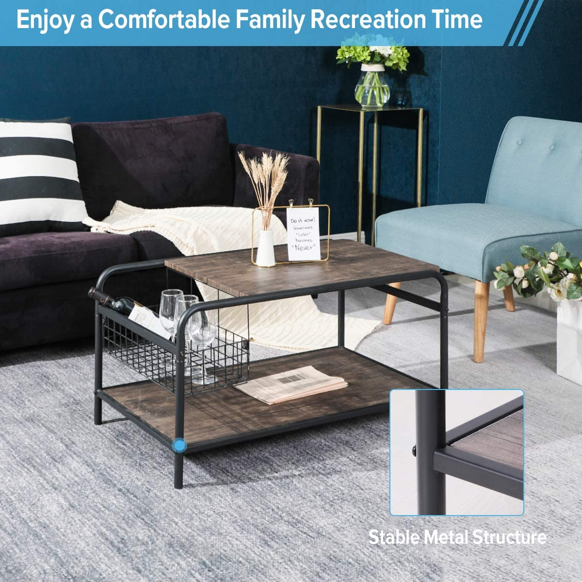 Rustic Coffee Tables with Storage Wood Living Room Tables Industrial Metal Shelf Modern Vintage Sofa Side Tables Cocktail Space Saving Organizer, Walnut Black: Kitchen & Dining