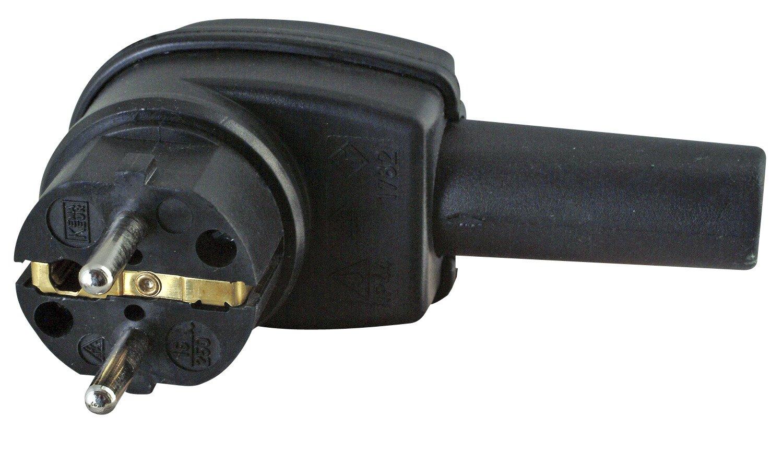 Kopp Schutzkontakt-Winkelstecker, aus Vollgummi, bruchfest & stabil, IP44 Feuchtraum geeignet, mit Knickschutztü lle, fü r Kabel bis 3x2,5mm² , schwarz, 178216009