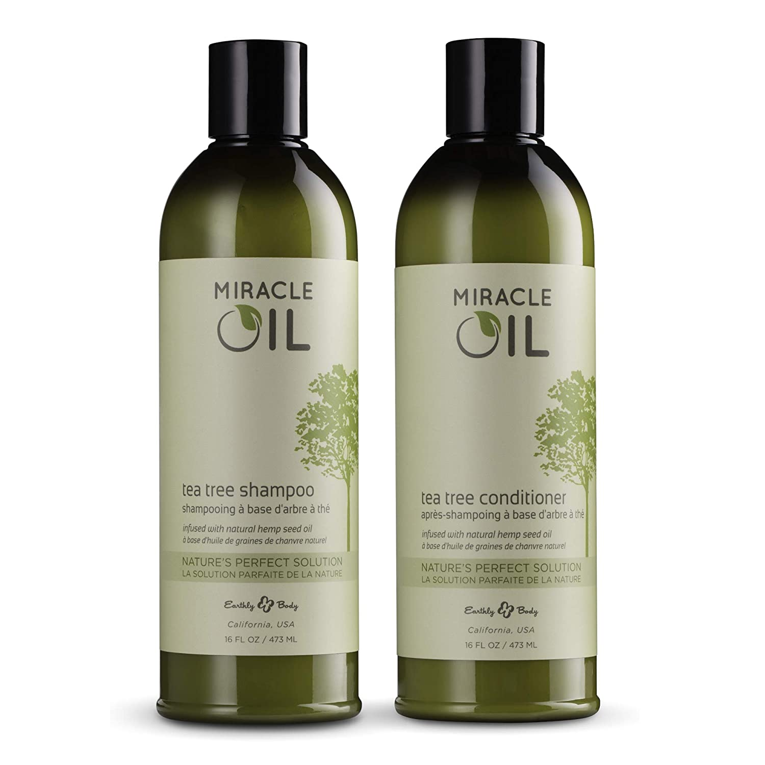 Earthly Body Miracle Oil Tea Tree Shampoo & Conditioner Set, 16 oz. - Tea Tree, Hemp Seed, Argan & Eucalyptus Oils - 100% Vegan, Cruelty-Free