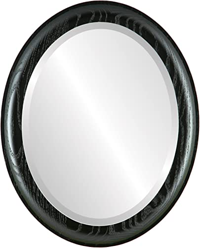 Oval Beveled Wall Mirror for Home Decor – Vancouver Style – Matte Black – 19×23 Outside Dimensions